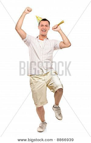 Full Length Portrait Of A Party Person Celebrating Isolated Against White Background