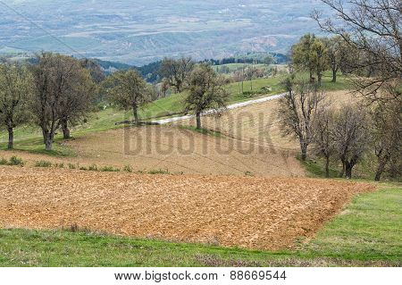 Small Plowed Fields In The Countryside In Bulgaria.