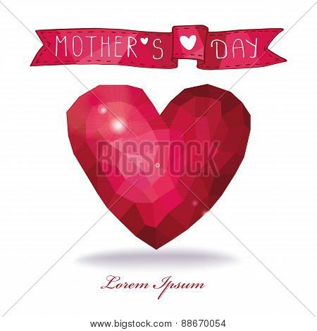 Mothers day card. Polygons pink heart with ribbon