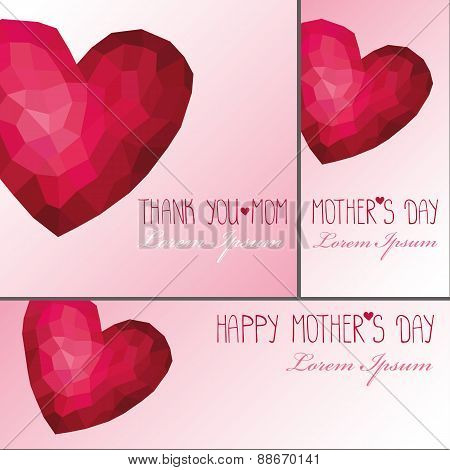 Mothers day card,banner set.Polygons pink hearts
