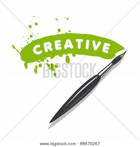 Vector Logo Brush And Green Paint