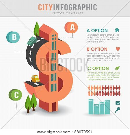 Flat 3D Isometric City Infrastructure Infographics, Dollar Shape