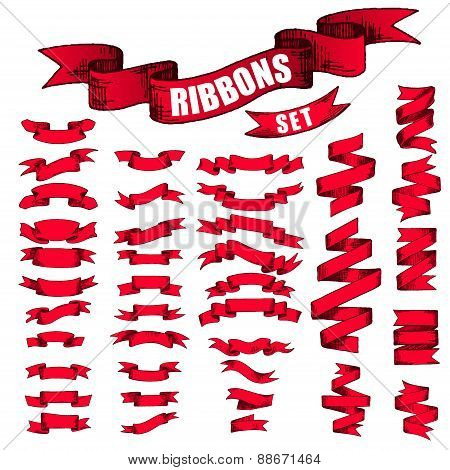 Big Red Ribbons Set, Isolated On White Background