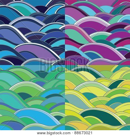 4 Variants Of Abstract Seamless Background With Waves
