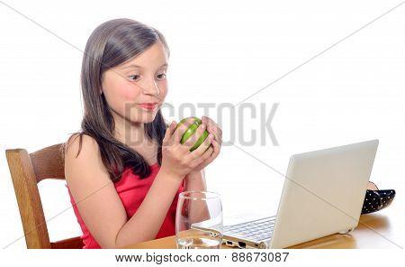 A Little Girl With An Apple