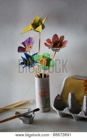 Flower Bouquet Made In Kids Creative Activity