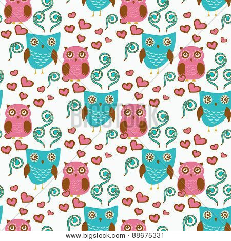 Cute seamless pattern with owls couple. Blue and pink owls. Vector illistration.