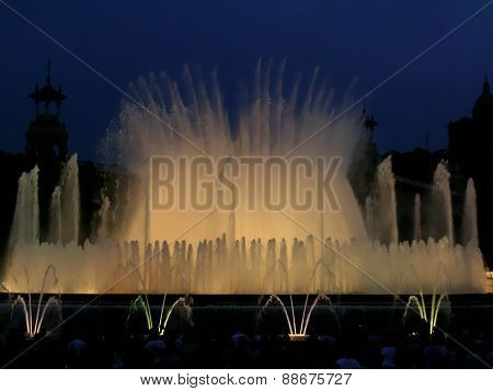 Light and music performance at the Magic fountain of montjuic in Barcelona