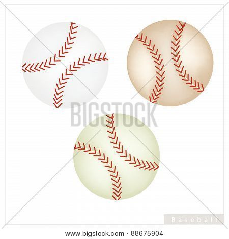 Set Of Baseball Ball On White Background