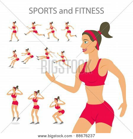 Dancing Girl  Red Sports Pants Cartoon Flat Minimalism, Character, Vector Illustration Set.