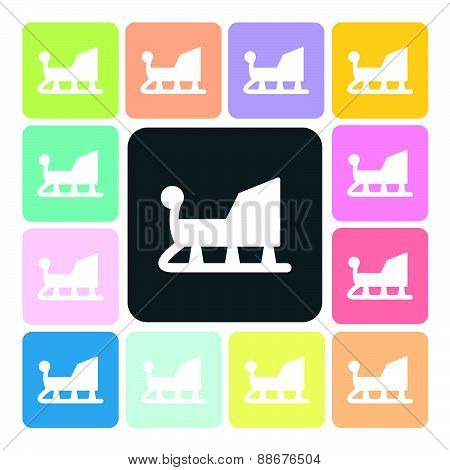 Sledge Icon Color Set Vector Illustration