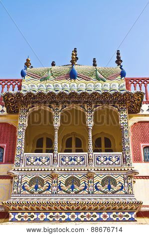 Art work balcony in City Palace. Jaipur, Rajasthan, India