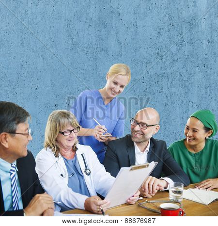 People Doctor Discussion Meeting Smiling Concept