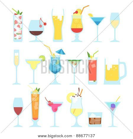 Set of different alcoholic cocktails.