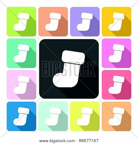 Christmas Stocking Icon Color Set Vector Illustration