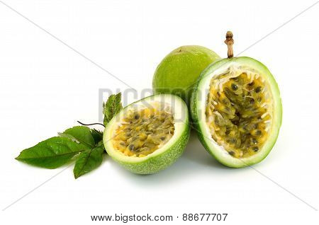 Fresh Green Passion Fruit On White Background