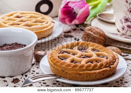 Tasty Chocolate Walnut Tart.