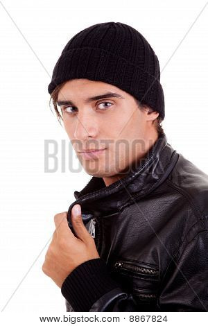 Boy With A Hood; Isolated On White Background. Studio Shot