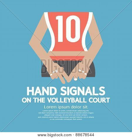 Hand Signals Of The Volleyball Player's Backside.