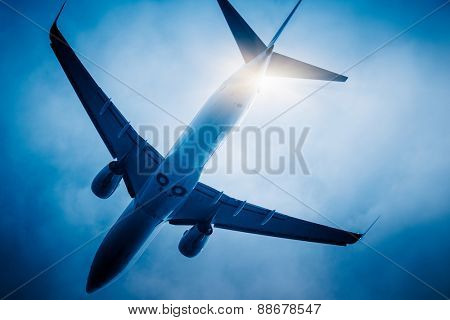 airplane fly through the sky.