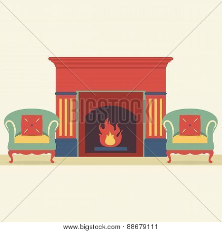 Empty Sofas And Fireplace In Living Room Interior.