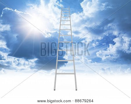 Metal Ladder Goes To The Cloudy Sky With Shining Sun