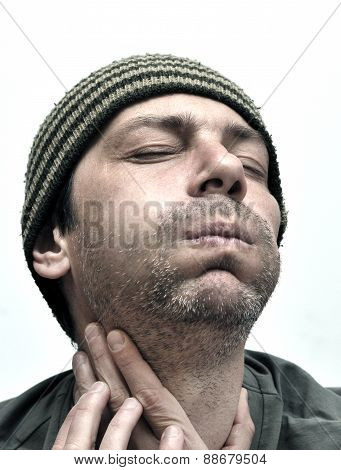Man Suffering From Toothache, Teeth Pain, Swollen Face