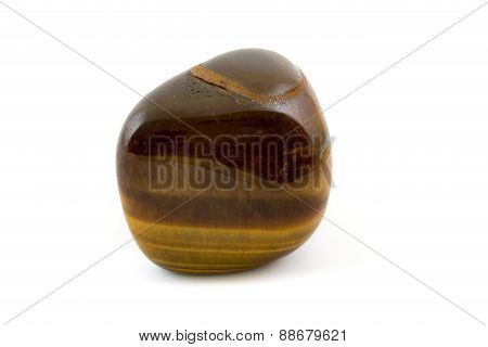 Tiger's Eye Adorable Gemstone Close Up White Background