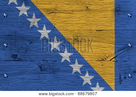 Bosnia And Herzegovina National Flag Painted Old Oak Wood Fasten