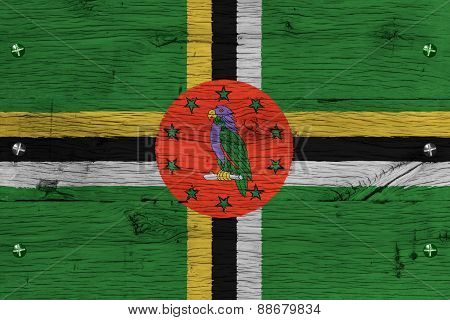 Dominica National Flag Painted Old Oak Wood Fastened