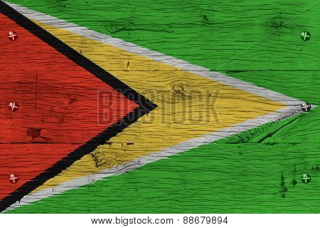 Guyana National Flag Painted Old Oak Wood Fastened