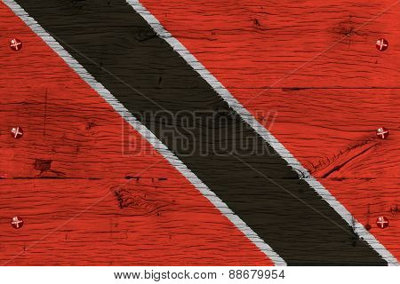 Trinidad Tobago National Flag Painted Old Oak Wood Fastened