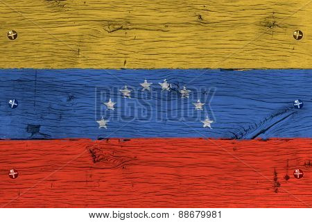 Venezuela National Flag Painted Old Oak Wood Fastened