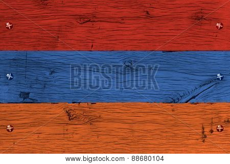Armenia National Flag Painted Old Oak Wood Fastened