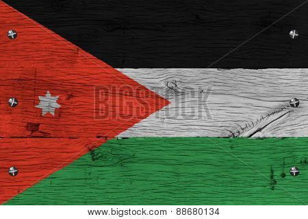 Jordan National Flag Painted Old Oak Wood Fastened