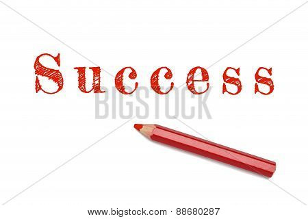 Success Text Sketch Red Pencil