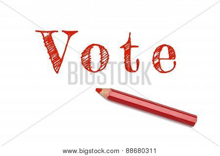 Vote Text Sketch Red Pencil