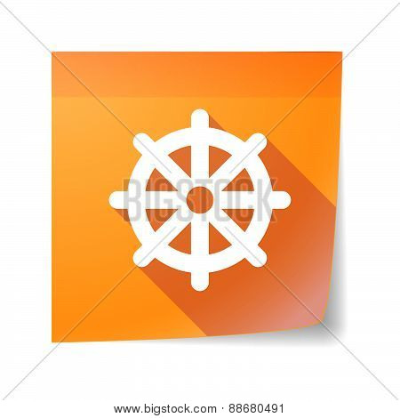 Sticky Note Icon With A Dharma Chakra Sign