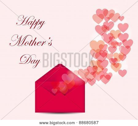 Mother's Day postcard with bokeh hearts on pink background