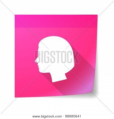 Sticky Note Icon With A Female Head