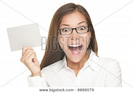 Blank Sign Woman Excited
