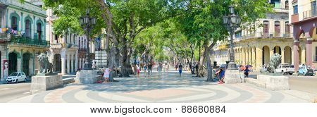 HAVANA,CUBA - APRIL 21, 2015 : High resolution image of El Prado boulevard in Old Havana