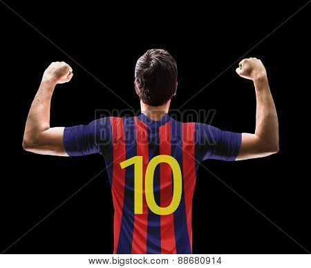 Soccer player on red and blue t-shirt on black background