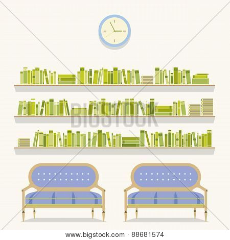 Flat Design Reading Seats And Bookshelves.