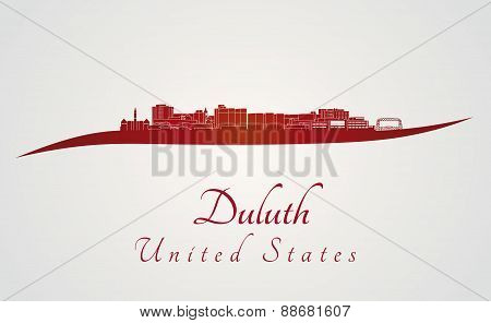 Duluth Skyline In Red