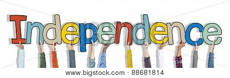 Hands Holding Independence Word Concept