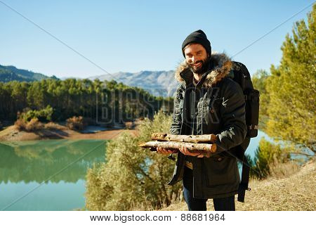Hikers - People Hiking, Man Looking At Mountain Nature Landscape Scenic With Lake In Background.