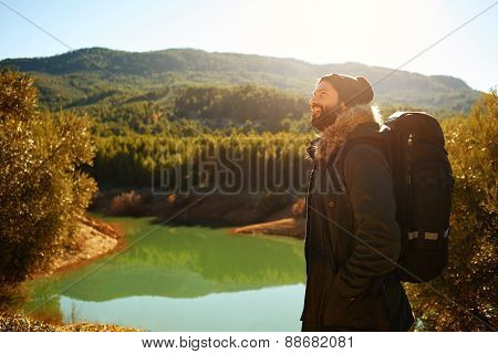Hiking People - Man Hiker Looking At Landscape Nature With Mountains And Lake In Background. Happy M