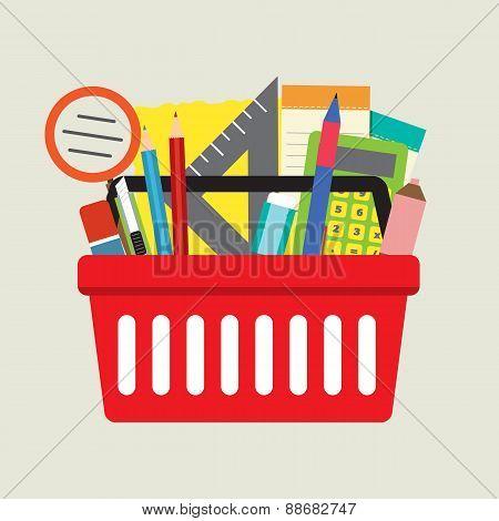School Supplies In Basket.