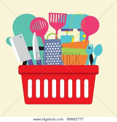 Utensil In Shopping Basket.